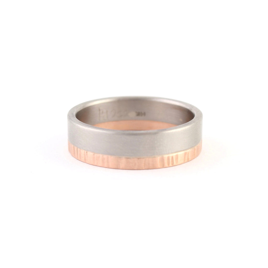 2 Layer Mixed Metal Band by EC Design - Fire Opal - 1