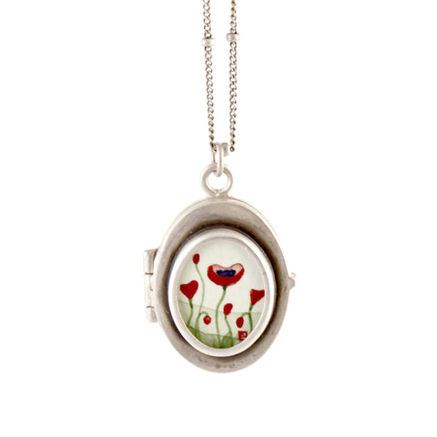 Oval Poppy Locket by Ananda Khalsa