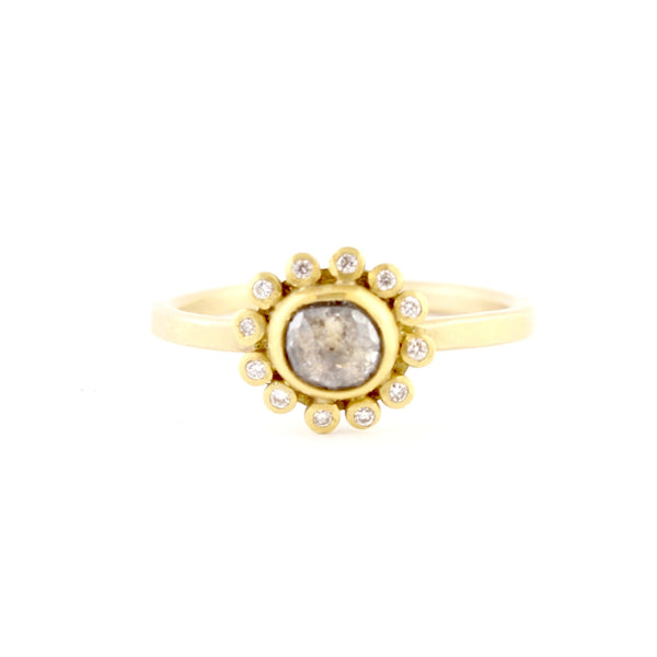 Pale Gray Diamond Ring with Diamond Halo by Ananda Khalsa