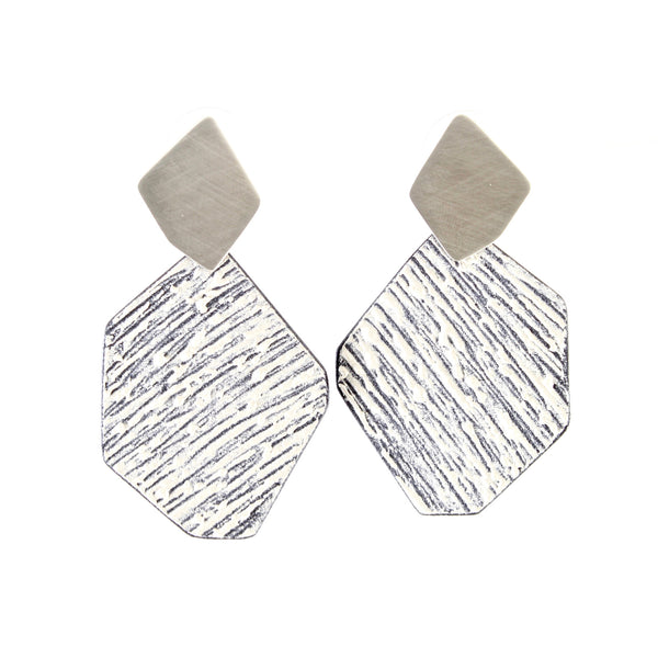 Silver and White Rock Earrings by Mary + Lou Ann