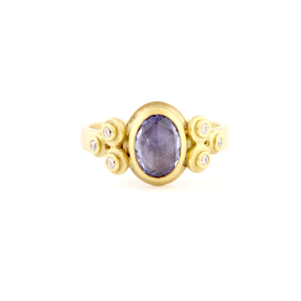 Rose Cut Sapphire Ring w/ Diamond Trios by Ananda Khalsa