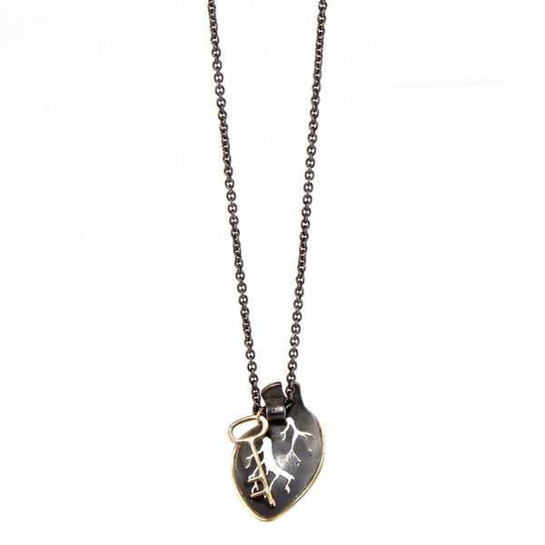 Golden Key and Heart Necklace by Luana Coonen