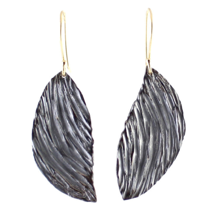 Crater Wing Earrings by Rebecca Overmann - Fire Opal
