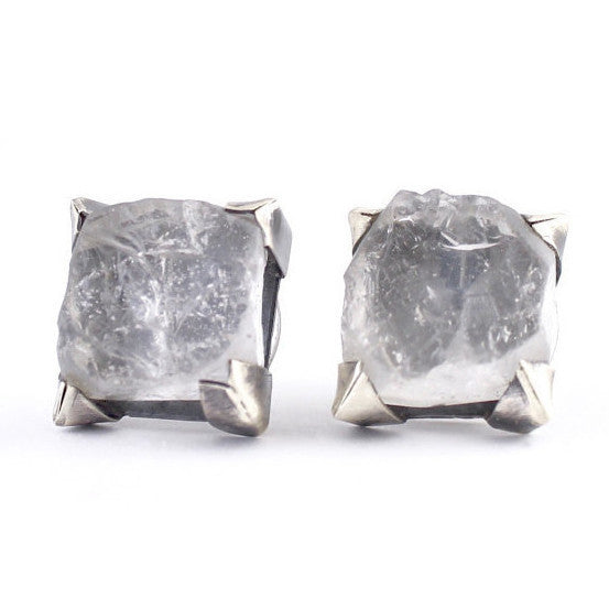 Rough Quartz Studs by Terri Logan - Fire Opal
