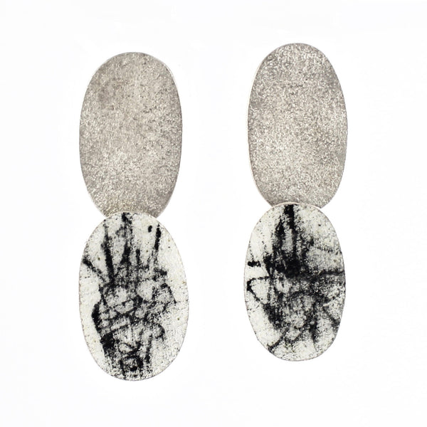 Graphite Post Double Hung Earrings by Christy Klug - Fire Opal