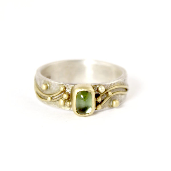 Wide Vine with Green Tourmaline Band by Regina Imbsweiler