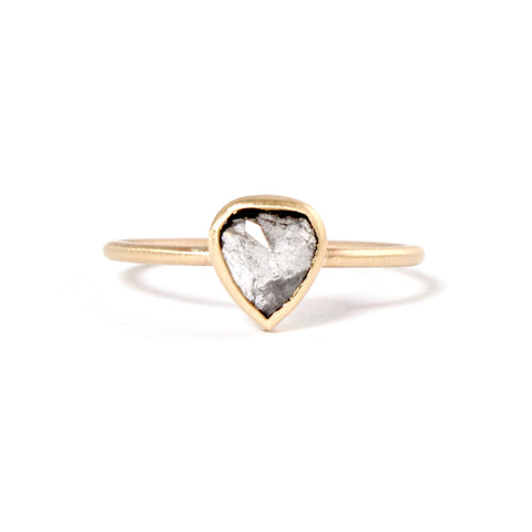Pear Black Rose Cut Diamond Ring by Rebecca Overmann
