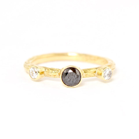 Black and Double White Diamond Pebble Ring in Rose Gold by Sarah Graham