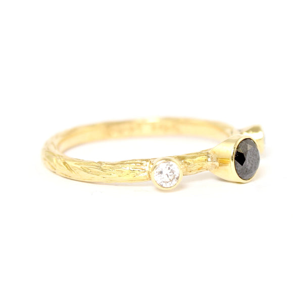 SALE! Black and Double White Diamond Pebble Ring in Yellow Gold by Sarah Graham