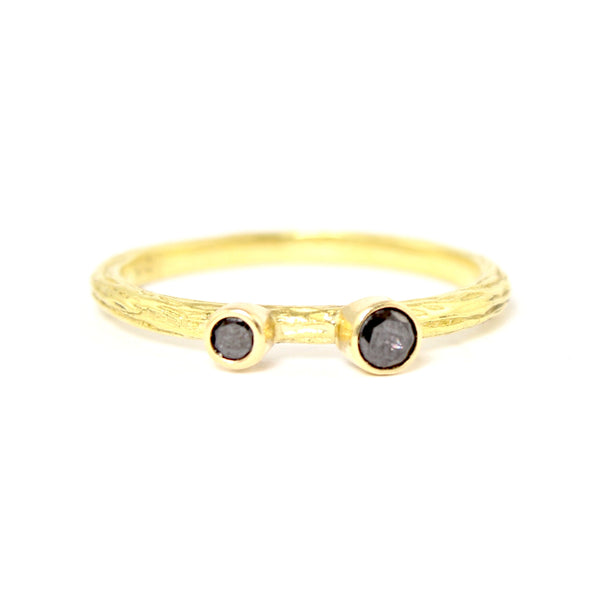 SALE! Double Black Diamond Pebble Ring in Yellow Gold by Sarah Graham