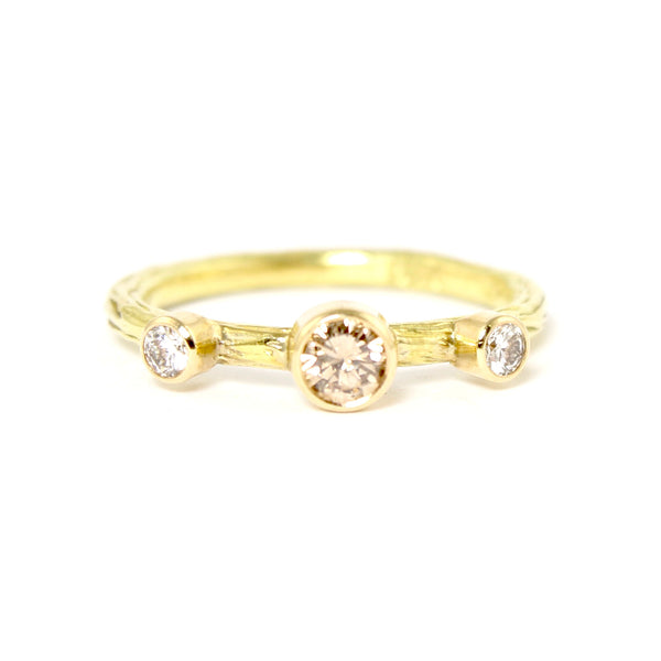 SALE! Cognac and Double White Diamond Pebble Ring in Yellow Gold by Sarah Graham