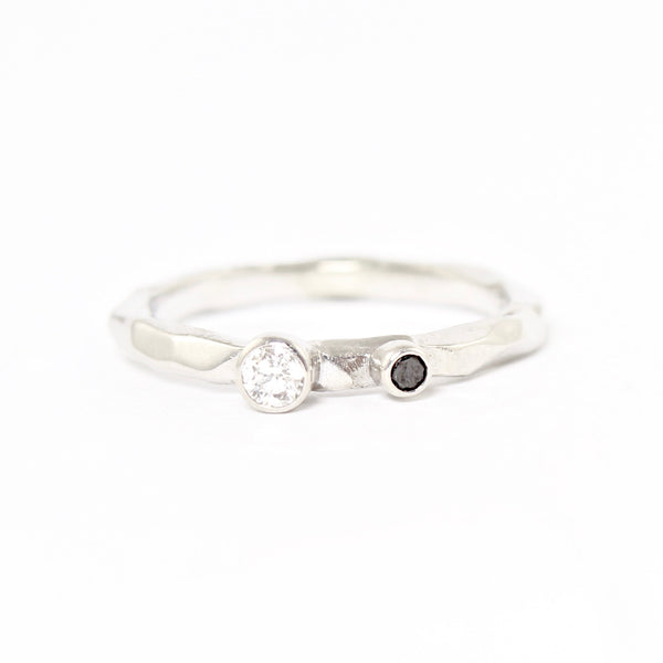 SALE! Dual White and Black Diamond Rogue River Ring in White Gold by Sarah Graham