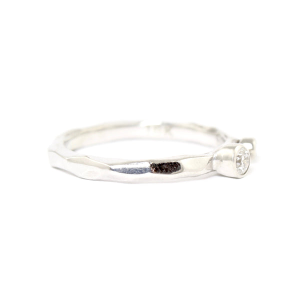 Dual White and Black Diamond Rogue River Ring in White Gold by Sarah Graham