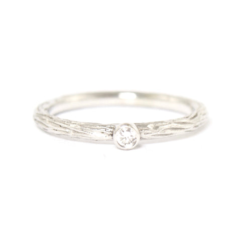 White Diamond Pebble Ring in White Gold by Sarah Graham