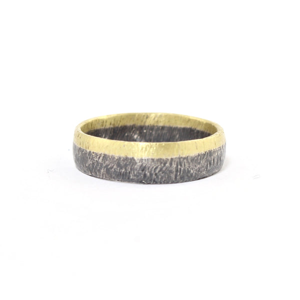 Oxidized Sterling Silver and Gold Band by Heather Guidero