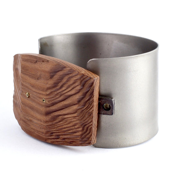 Titanium and Wood Cuff by Eric Silva - Fire Opal - 2