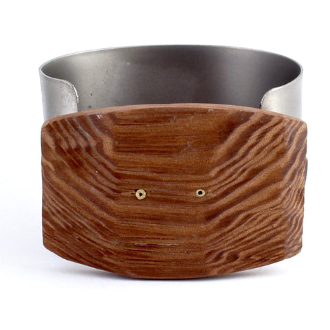 Titanium and Wood Cuff by Eric Silva - Fire Opal - 1