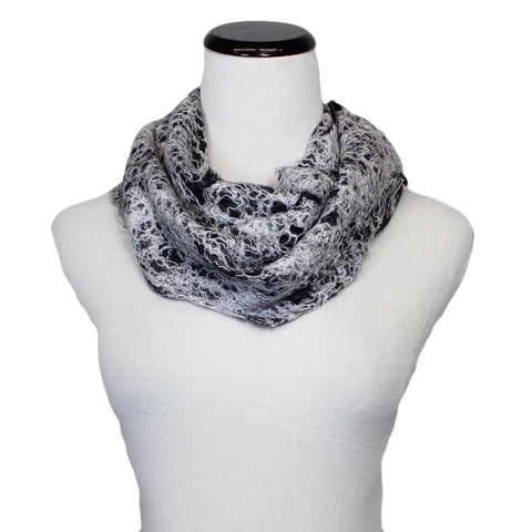 Mohair Scarf in White/Black by B. Felt - Fire Opal - 1