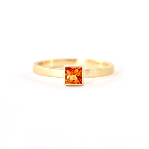 Stacking Stone with Orange Sapphire Ring by Dawes Designs