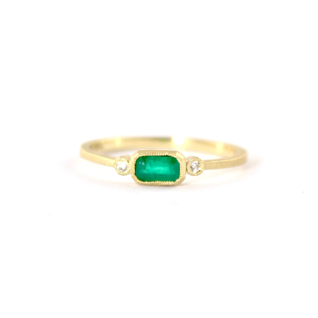 Blockette Emerald with Diamonds Ring by Dawes Design
