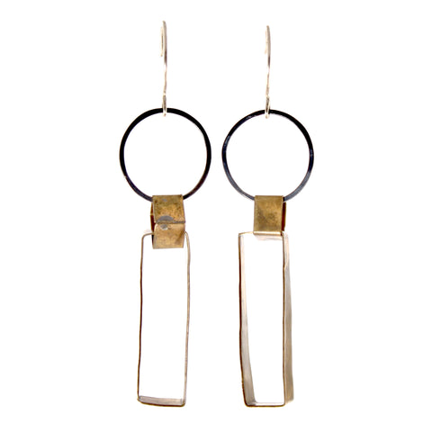 Brass Square and Silver Circle Earrings by Olivia de Soria
