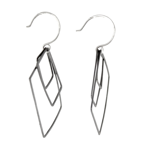Oxidized Silver Kinetic Square Earrings by Olivia de Soria