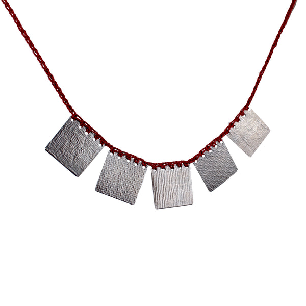 Square Necklace (Multiple Colors) by Erica Schlueter - Fire Opal - 1