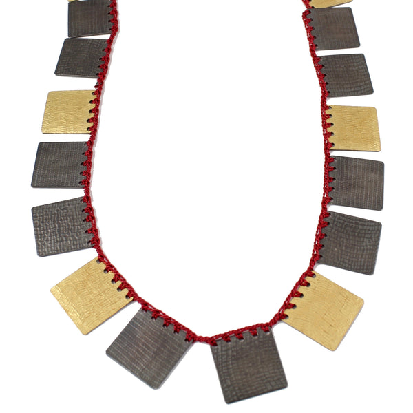 Cleopatra Bi-Metal Square Necklace by Erica Schlueter - Fire Opal - 2