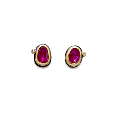 Ruby with Diamond Dot Stud Earrings by Ananda Khalsa