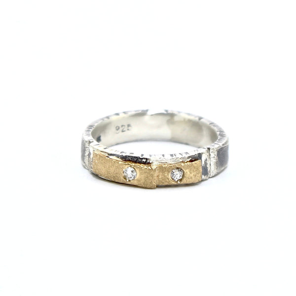 Recycled 18k Gold Double Tab Ring with Recycled Diamonds by Kate Maller