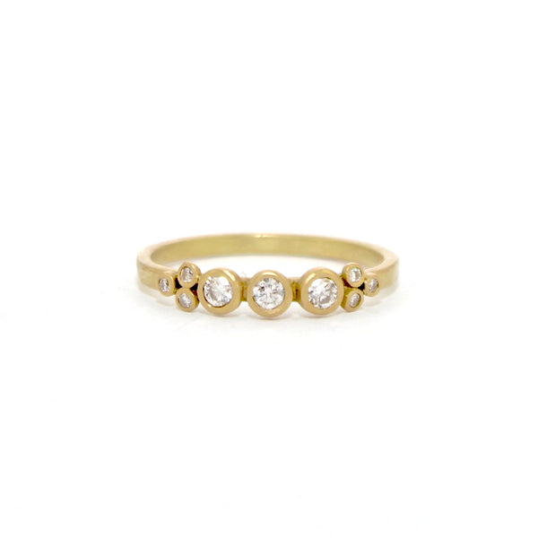 Three Diamond Dot Ring with Diamond Trios by Ananda Khalsa