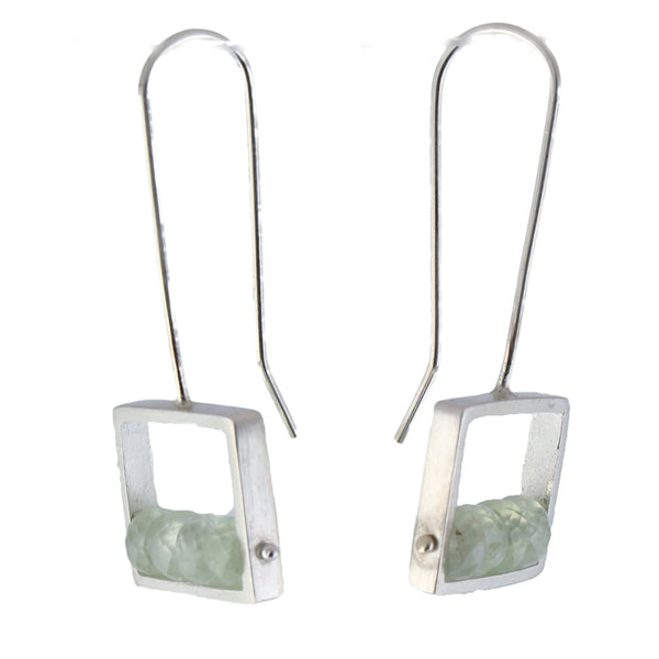 Green Amethyst Frame Earrings by Ashka Dymel - Fire Opal