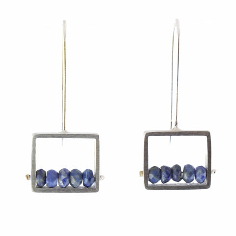 Lapis Frame Earrings by Ashka Dymel - Fire Opal - 1