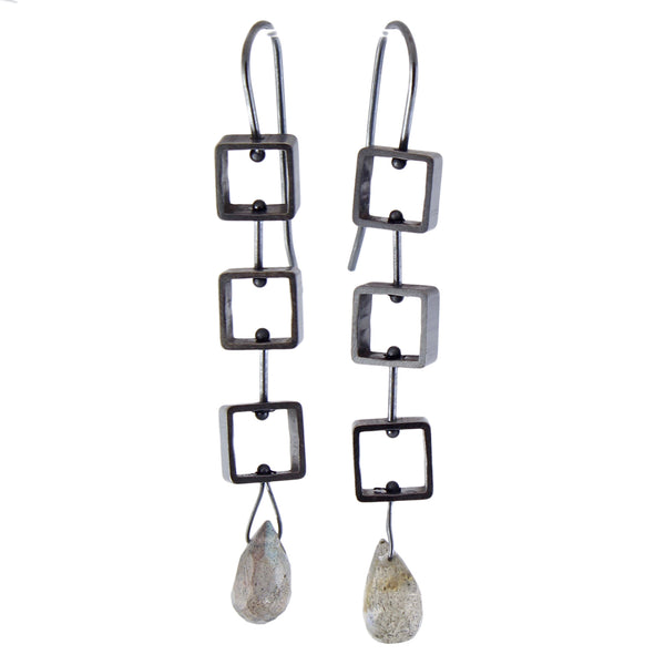 Mini Square Earrings by Ashka Dymel - Fire Opal - 1