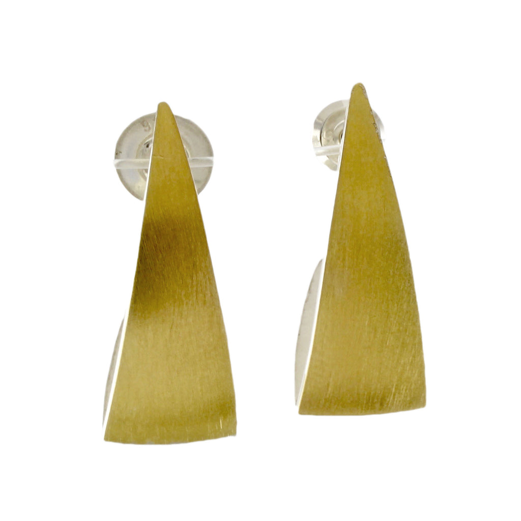 Gold Skinny Spinnaker Earrings by Thea Izzi - Fire Opal - 1