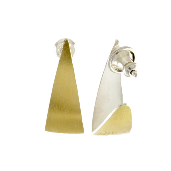 Gold Skinny Spinnaker Earrings by Thea Izzi - Fire Opal - 2