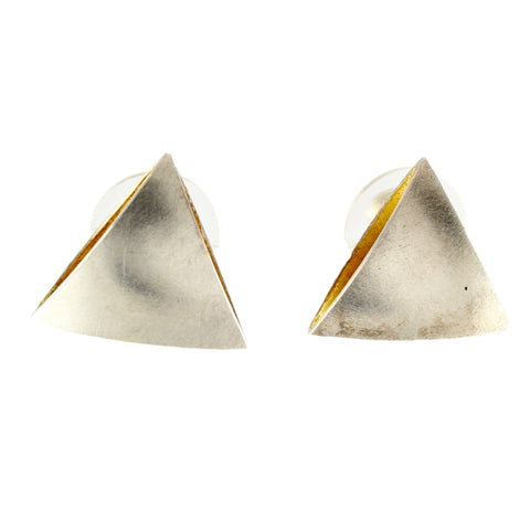 Bi-Metal Triangle Earrings by Thea Izzi - Fire Opal