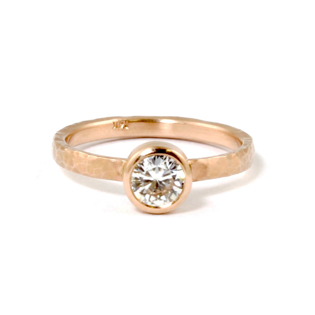 Solitare Moissanite Ring in Rose Gold by EC Design - Fire Opal - 1