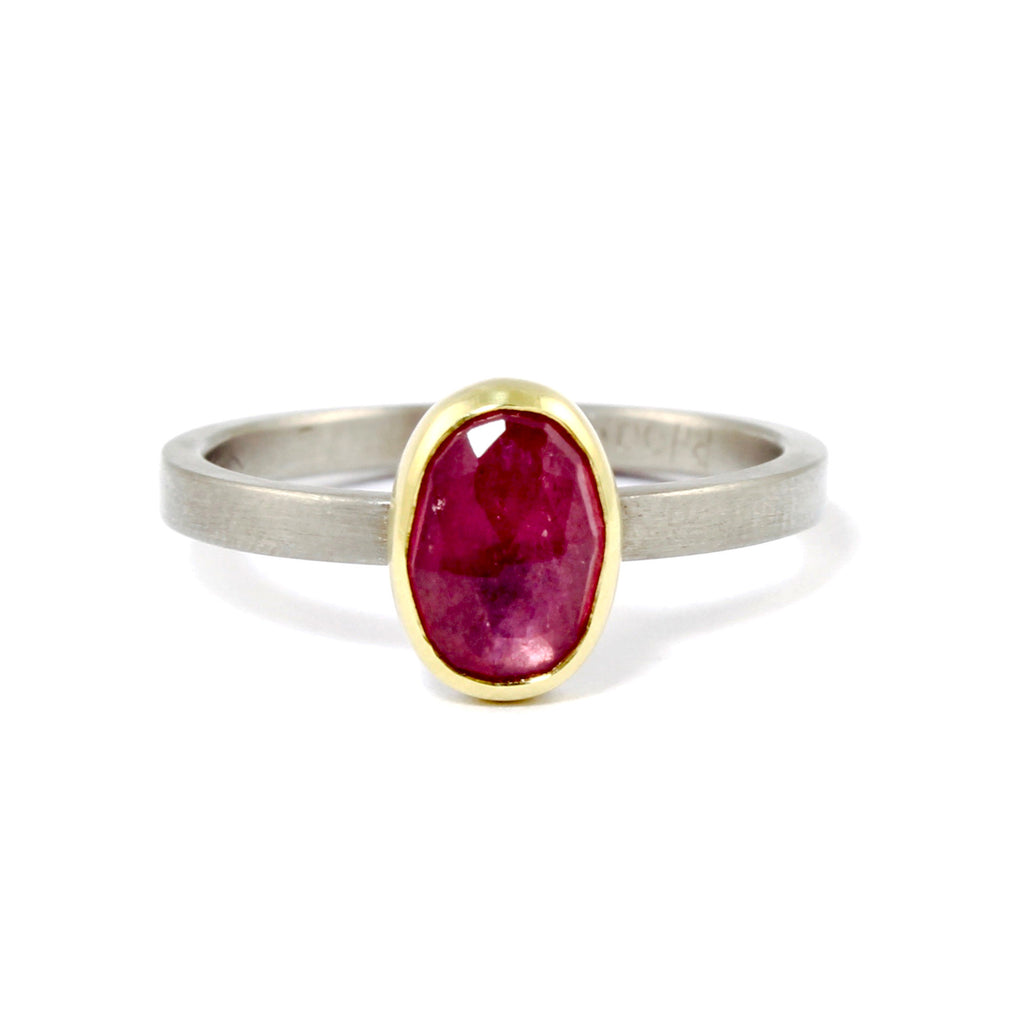 Oval Solitaire Pink Sapphire Ring by EC Design - Fire Opal - 2