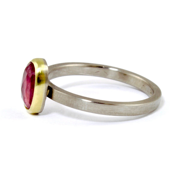 Oval Solitaire Pink Sapphire Ring by EC Design - Fire Opal - 3