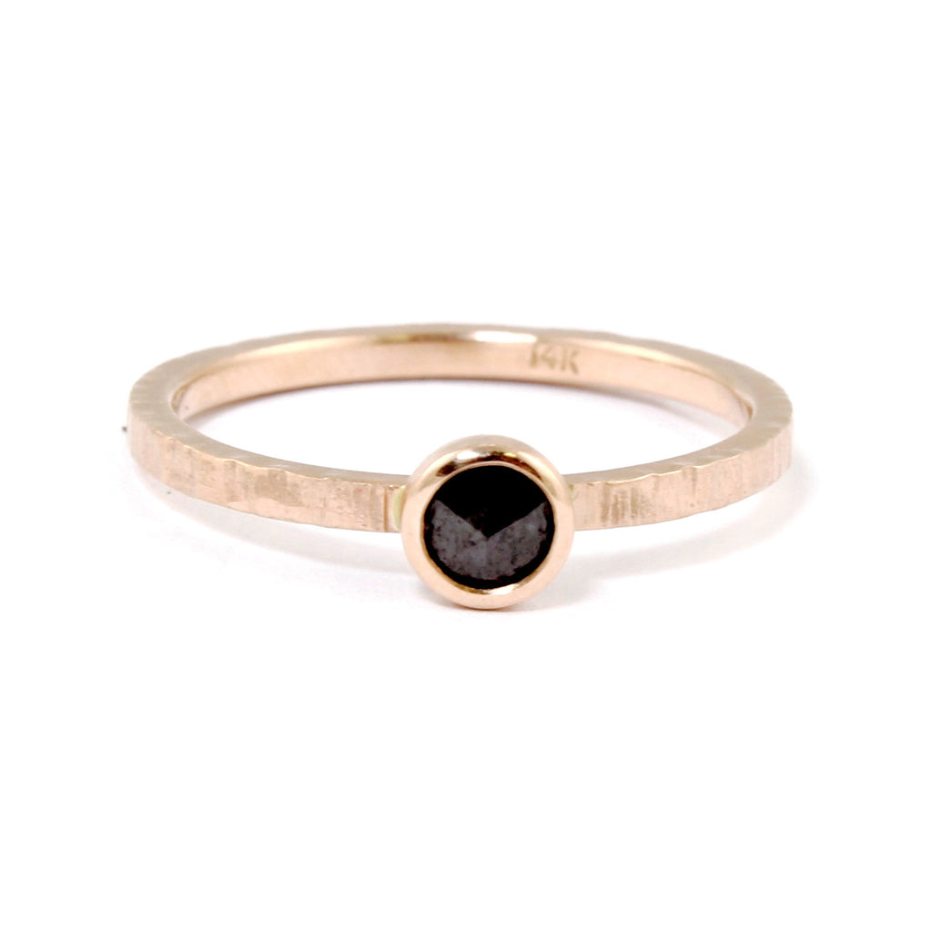 Rose Gold Black Diamond Ring by EC Design - Fire Opal - 1