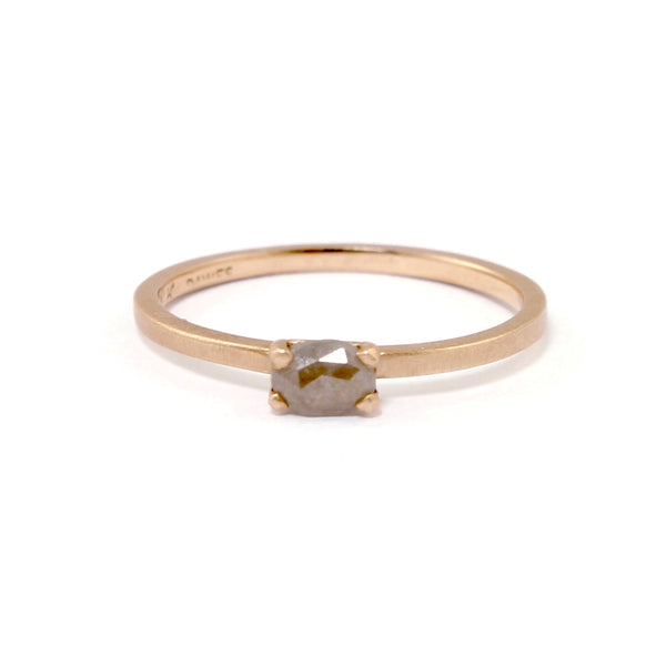 Rose Gold Grey Diamond Ring by Dawes Design - Fire Opal - 1