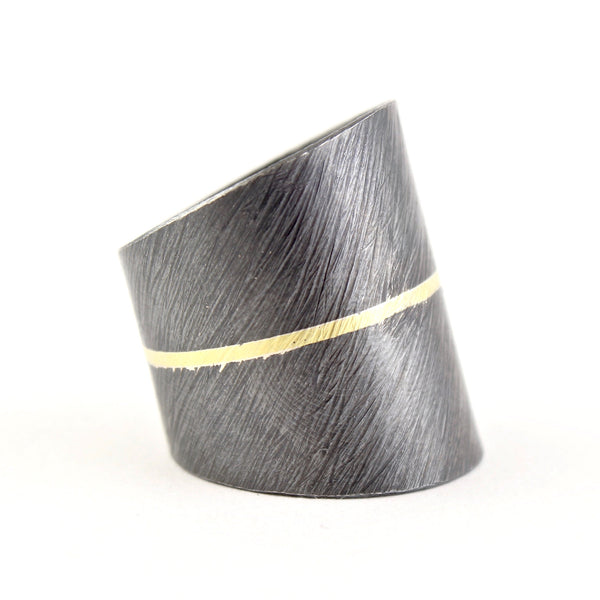 Oxidized Sterling Silver Carved Line Gold Ring by Heather Guidero
