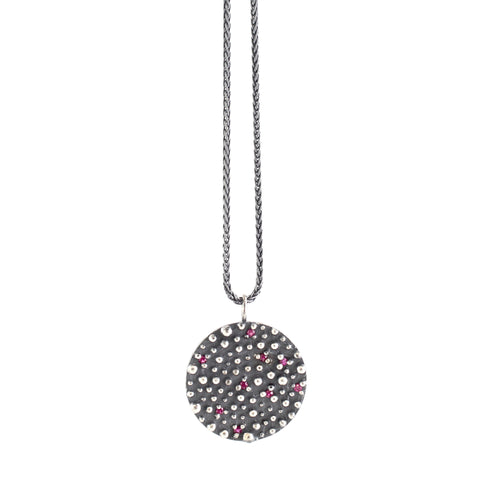 Round Oxidized Sterling Silver Bumpy with Ruby Pendant by Dahlia Kanner