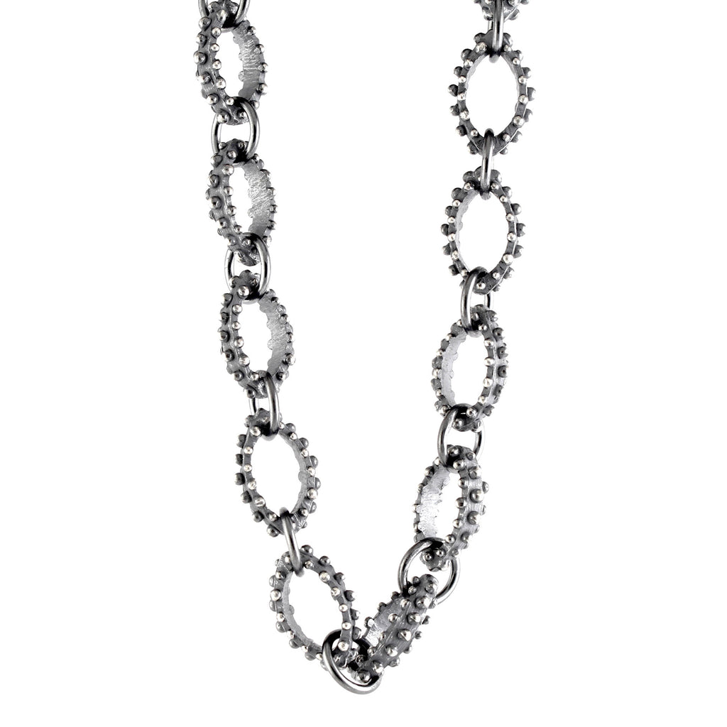 Oxidized Sterling Silver Bumpy Link Necklace by Dahlia Kanner