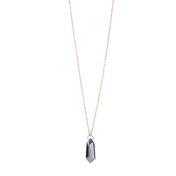 NEW! Large Pyrite Shield Solitaire Necklace by Carla Caruso