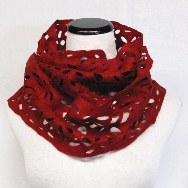 Lace Scarf in Red by Lana Handmade - Fire Opal - 2