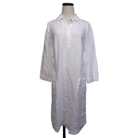 SALE! Shirt Dress- Washed Linen in White by Nuthatch - Fire Opal - 1