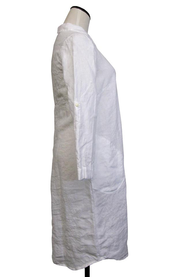 SALE! Shirt Dress- Washed Linen in White by Nuthatch - Fire Opal - 2