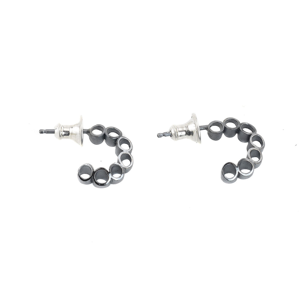 NEW! Mini Ruffle Hoop Earrings in Oxidized Sterling Silver by Thea Izzi